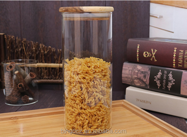 33oz 85*200 mm 950 ml glass storage jar/canister for kitchen with acacia wooden lid