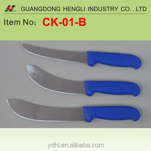 curved steak butcher knife with blue PP handle