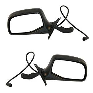 1992-1996 Ford Bronco & F150, F250, F350 Pickup Truck Power Folding Black Housing with Black Cap/Cover Non-Heated Lightning Rear View Mirror Pair Set: Right Passenger AND Left Driver Side (1992 92 1993 93 1994 94 1995 95 1996 96)