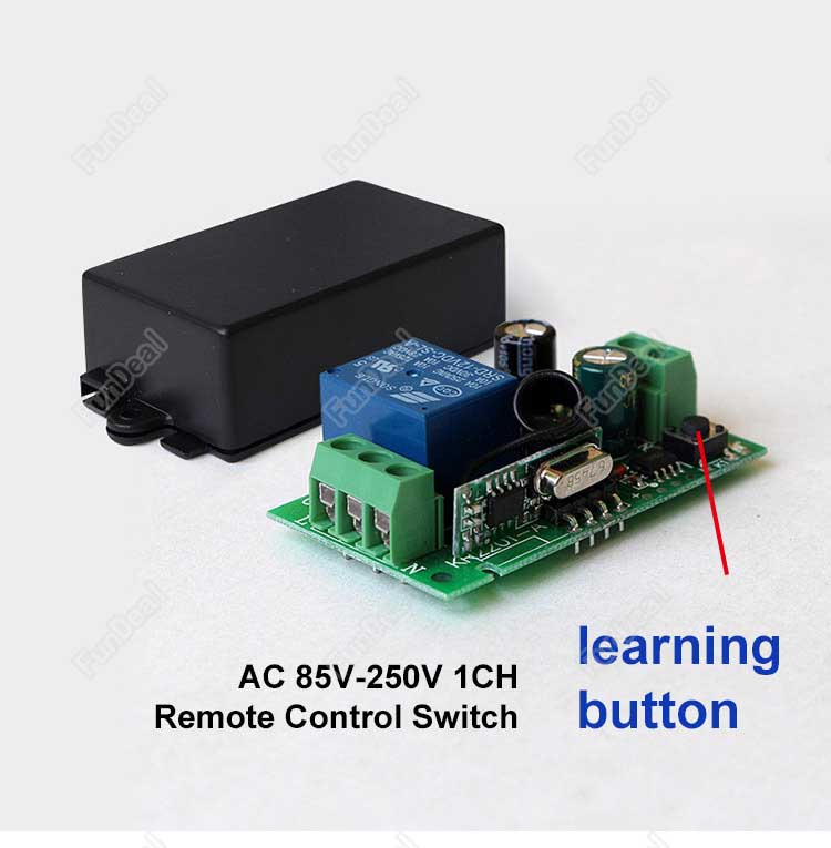 433Mhz Universal AC 220V Radio Controller RF Mini Wireless Push Remote  Control Switch 1 CH relay Receiver Module and Transmitter