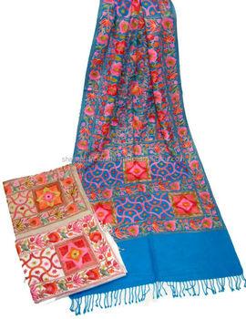 Cachemire broderie 100% laine foulards en inde directement du fabricant,  bas moq écharpe 051cb4d1e38