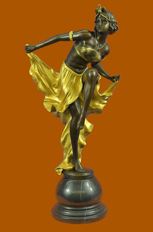 Handmade European Bronze Sculpture Handcrafted Large Gold