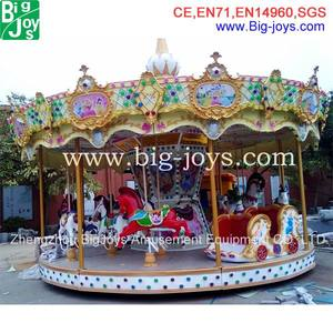 Mechanical merry go round rocking carousel horse amusement kids rides for sale