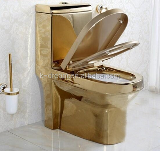 Sanitary Bathroom One Piece Gold Plated Toilet Kd 03gp1