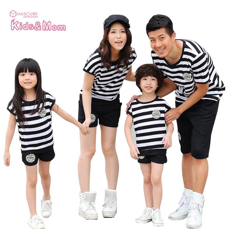 Summer Sport font b Family b font Look Mother Father Baby Daughter Son  Clothes Set Stripe a4f3126e8