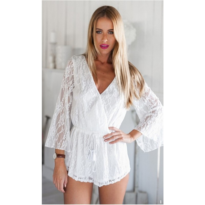 fa923c591507 Get Quotations · 2015 Fashion White Winter Combinaison Short Women Ladies V-neck  Long Sleeve Lace Bodycon Jumpsuit