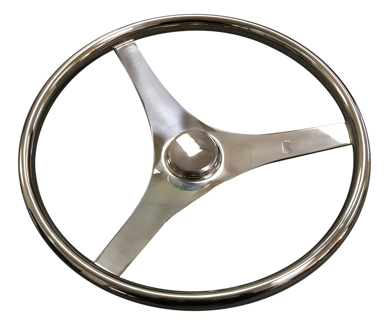 "Pactrade Marine Boat Durable 3 Flat Spoke Stainless Steel Sports Steering Wheel, 15-1/2""L"