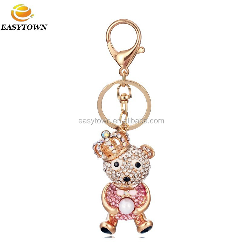 2015 Custom metal bling key rings wholesale keychains cartoon anime keychain bear keyring promotional gifts