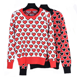 New Design Romantic Love Heart Jacquard Modern Sweaters Knitted