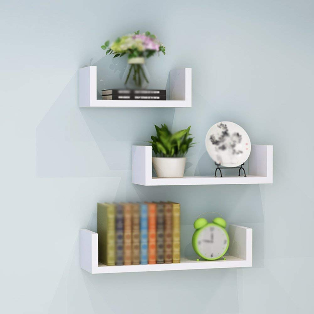XY Shelf Solid wood Wall shelf,living room Wall-mounted shelf,multi-layer shelves/perforated wall-mounted Free-standing shelf/With three shelves/(30/40/501410cm)% (Color : White)