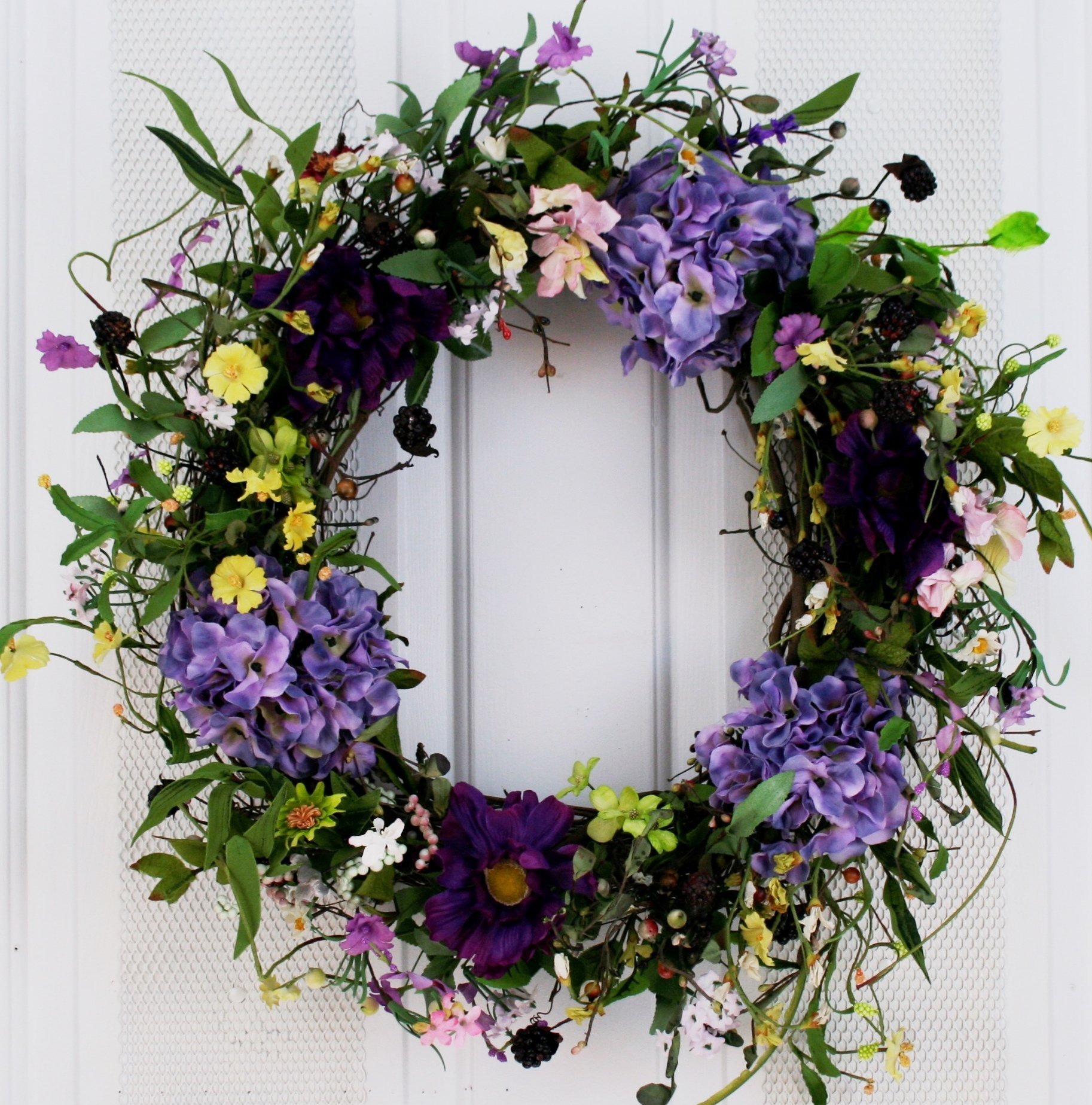Spring Medley Silk Flower Wreath 22 inch for Spring and Summer Front Door Decoration