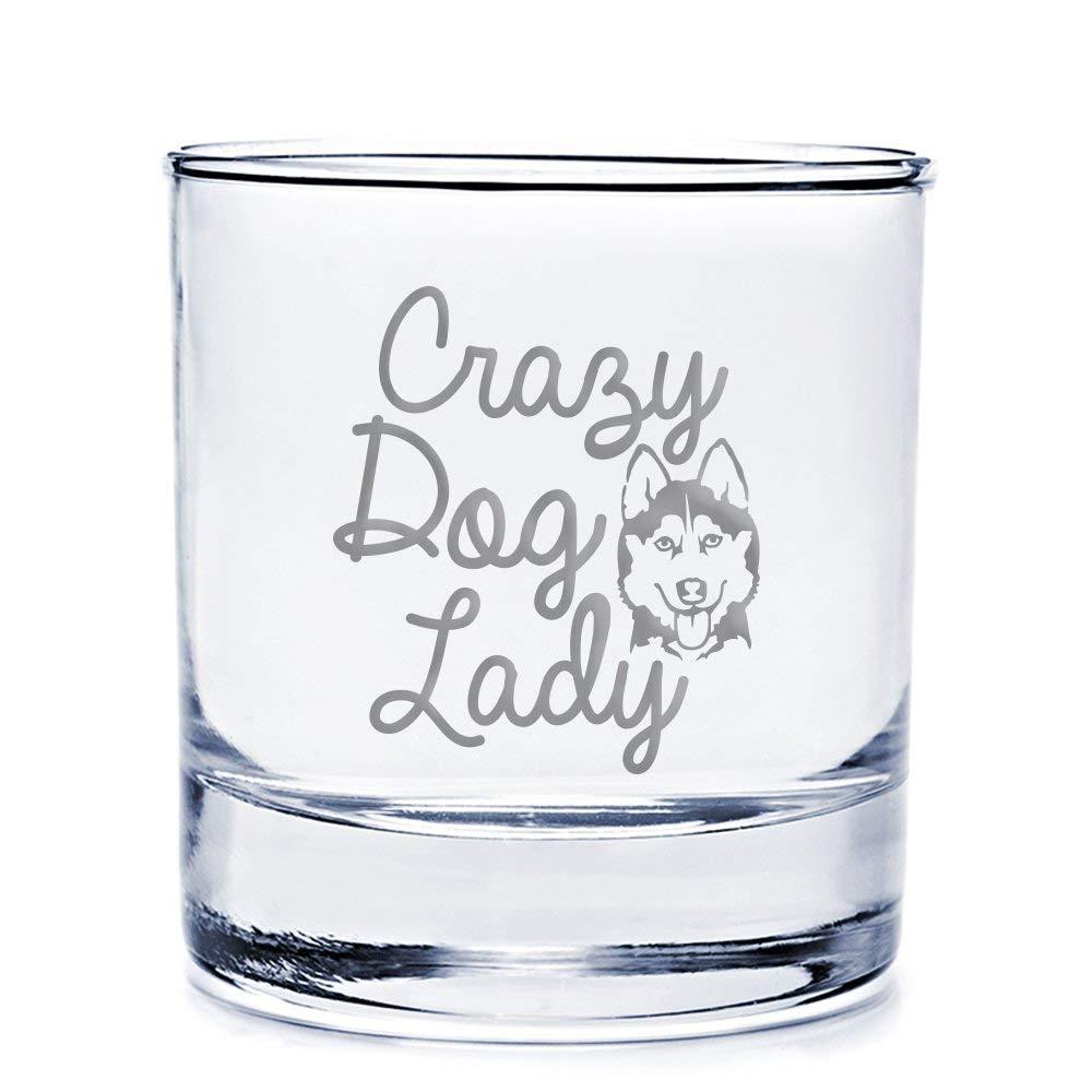 Crazy Dog Lady Siberian Husky Engraved 10-ounce Rocks Glass