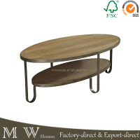 Industrial oval coffee table, reclaimed wood two shelf coffee table