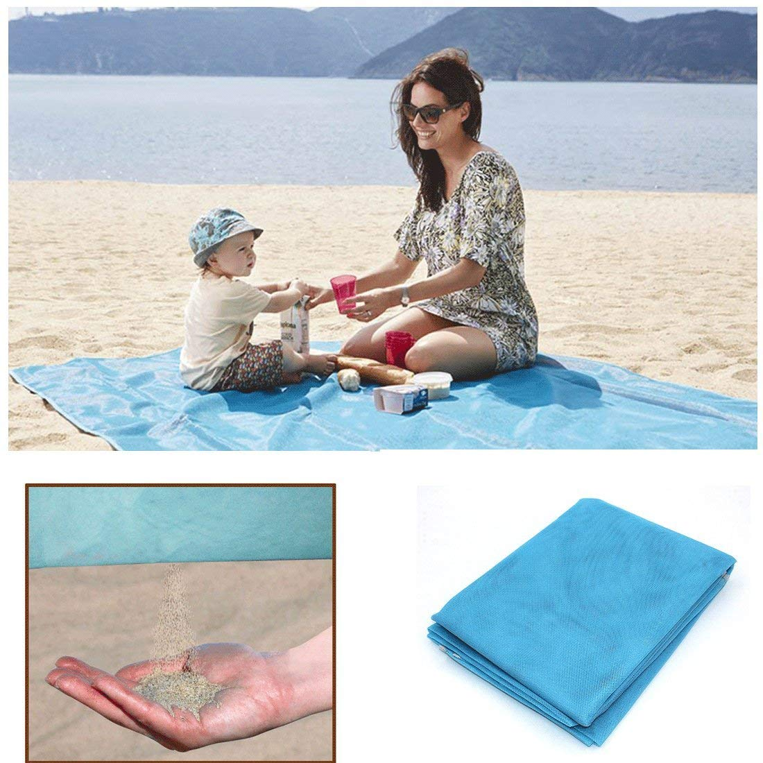 Large Sand Free Beach Mat Outdoor Travel Seaside picnic Sand Free Mat, Sand Proof Mat Easy Clean and Dust Prevention Oversized Beach Blanket Ripstop Polyester Mesh Travel Beach Mat 79 X 79 inch