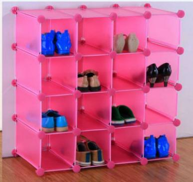 De enclavamiento 16 pares cubo organizador de zapatos de almacenamiento de habitaci n en muchos - Como hacer un organizador de zapatos casero ...