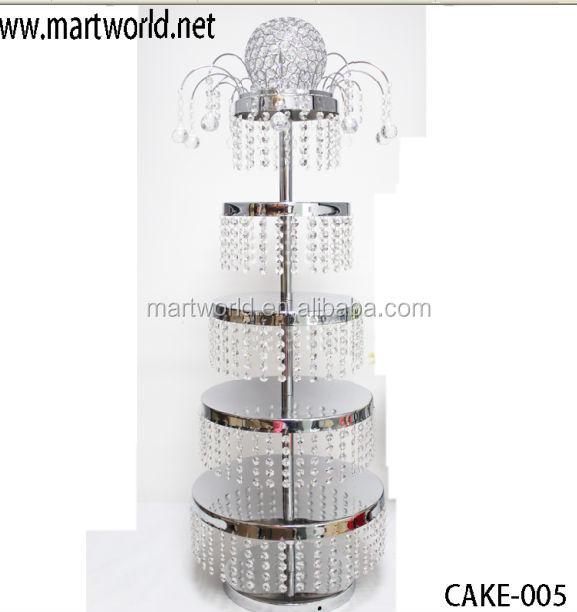 2017 nouveau design argent 5 niveaux gteau en mtal prsentoir cristal stand de gteau pour - Presentoire De Gateau De Mariage