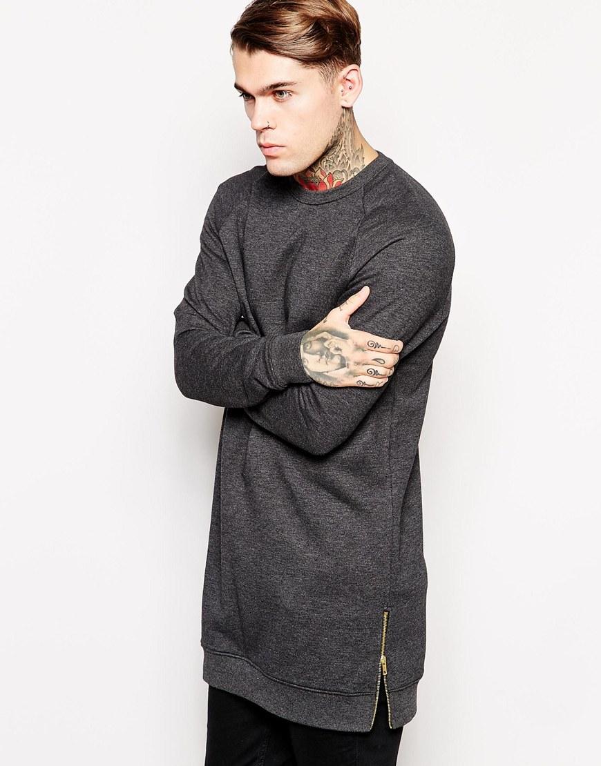 Mens Heather Grey No Hood Long Extended Custom Wholesale Sweatshirt ... d5b3e9ff7c9