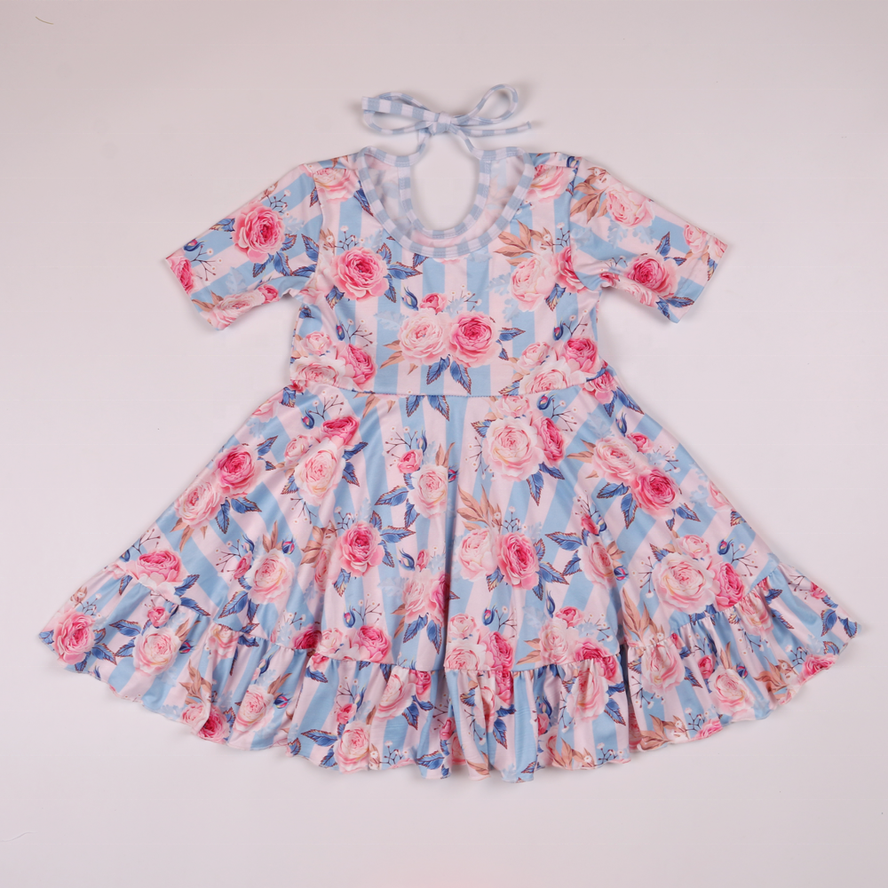 <strong>cotton</strong> and spandex summer ruffle bow lining floral printed organic <strong>cotton</strong> <strong>baby</strong> girls short sleeve dress kids elegant <strong>frock</strong>