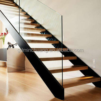 Steel Beams Black Powder Coated White Oak Wood Treads