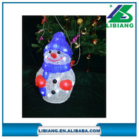 Battery operated led light acrylic snowman for indoor