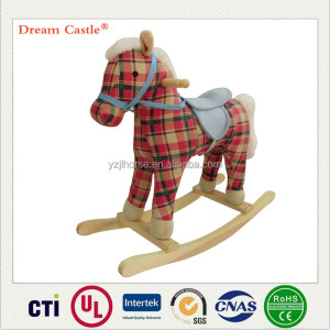Floral Plush Rocking Horse with moving mouth & swing tail