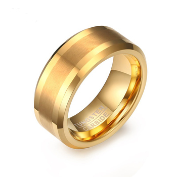 Assorted gold plated with matte finished tungsten stainless steel gold plated ring for men