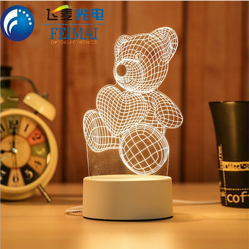 7 color changing 3D Love Heart Night Light 3D Illusion Lamp with Smart Touch for Valentine day and Mother day