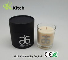3 pieces wicks pillar luxury scented glass candle with round gift box packing