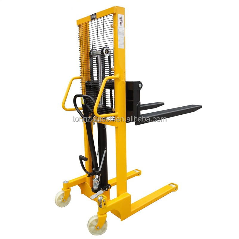 TZBOT Hand Manual Raise forklift pallet stacking high hydraulic lift forklift 1 ton 1.5 tons