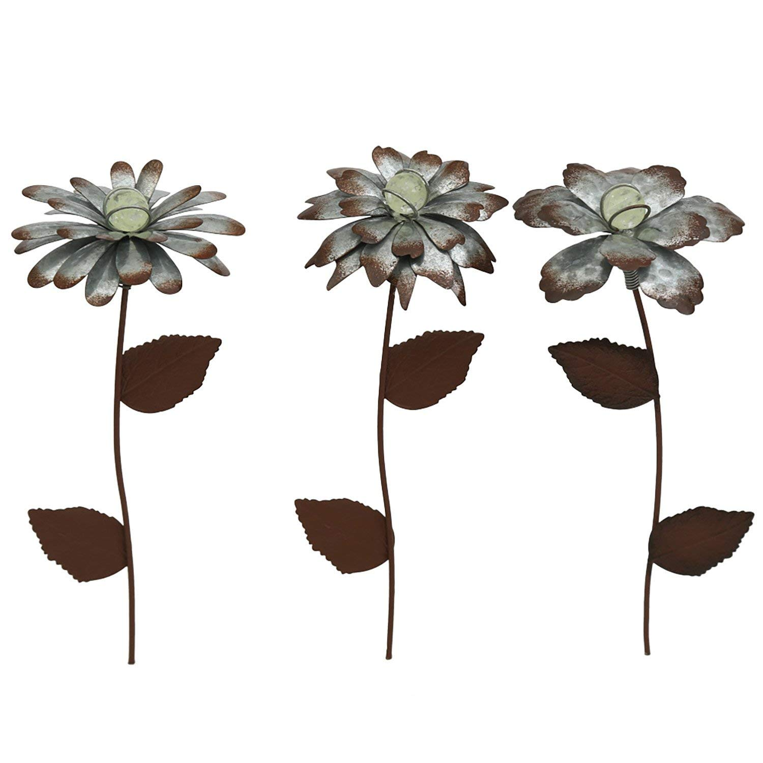 """Cedar Home Galvanized Floral Garden Stake Outdoor Glow in Dark Plant Pick Water Proof Metal Stick Art Ornament Decor for Lawn Yard Patio, 4""""W x 1.5""""D x 14""""H, 3 Set"""