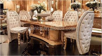 Bouton De Luxe Chaise Capitonnee Rembourree Dorure Table A Manger Pour Huit Personnes En Bois Exquis Sculpte Ensemble De Meubles De Salle A Manger