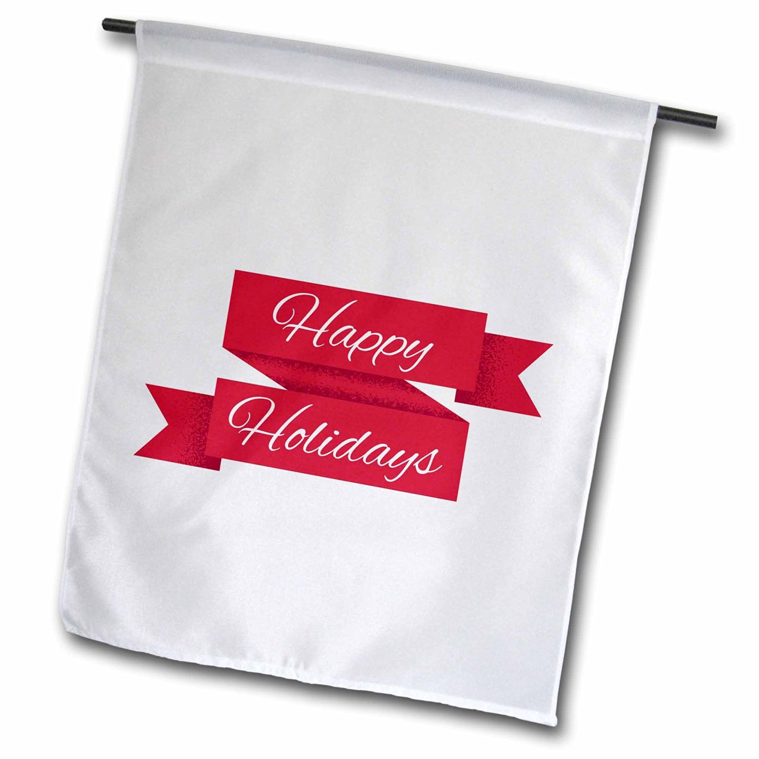 Xander holiday quotes - happy holidays white lettering on a red ribbon - 12 x 18 inch Garden Flag (fl_201856_1)