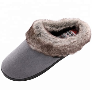 Women's Furry Memory Foam Slippers Micro Suede Faux Fur Shoes w/Yarn Knit Lining