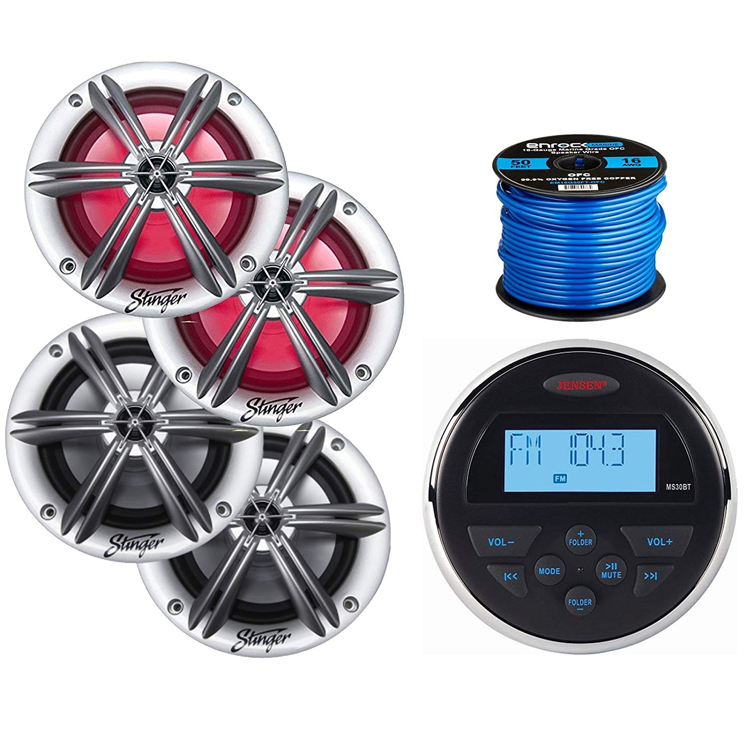 """Jensen Mechless Compact Waterproof Stereo w/Bluetooth, 2 x Stinger PowerSports 6.5"""" Marine Coaxial Speakers w/RGB Lighting (Silver), 2 x Stinger 6.5"""" Coaxial Speakers (Silver), 50 Ft Speaker Wire"""