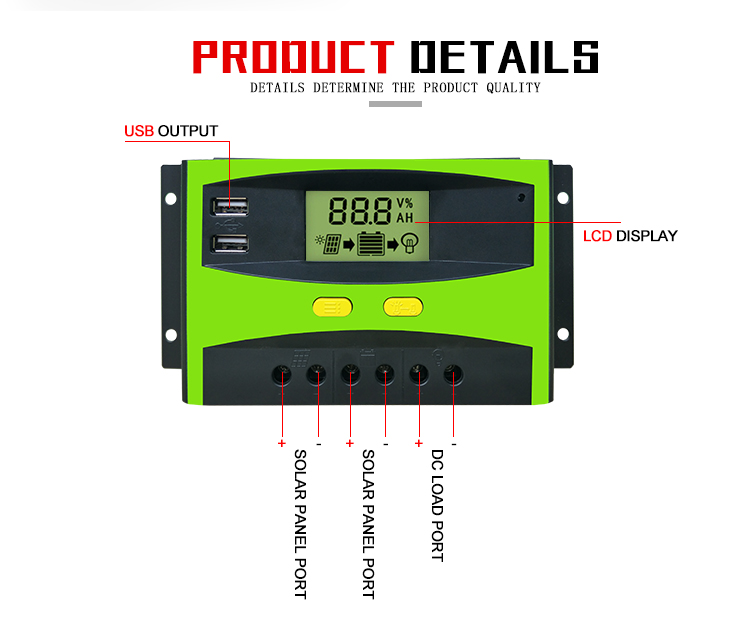 New Arrival Intelligent 20/30/40/50/60A CE ROHS 12V /24V Auto Transform LCD Display With 2 USB Green Solar Charge Controller.jpg