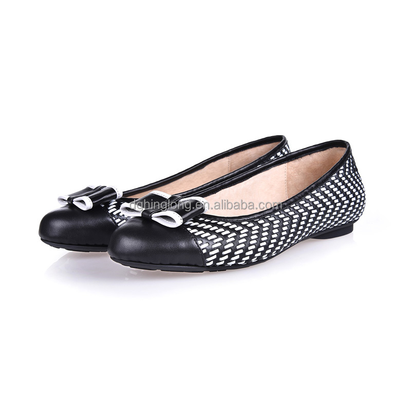 Spring/summer 2016 office lady genuine woven leather soft flat shoes hand stitch leather shoes