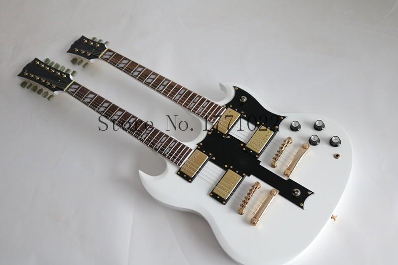 wholesale 2016 new guitar factory white double necks electic guitar sg 12 string 6 string. Black Bedroom Furniture Sets. Home Design Ideas