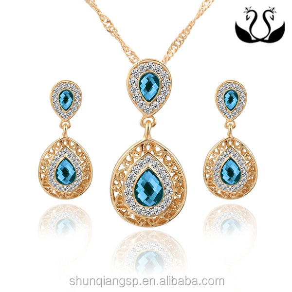 High Quality Srilankan Wedding Gold Plated Double Teardrop Pendant Earring Jewelry Set