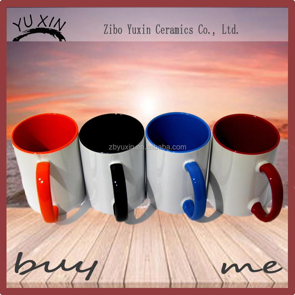 Zibo Producer Outer White Inner Colorful Glazed Sublimation Tea Cups