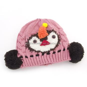 Birdie novelty beanie knitted hat cute animal jacquard winter beanie hat  two ear pom pom knitting 4214c13cd56