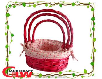 Wholesale Valentine Gift Basketset Of 3 Wood And Willow Basketswicker Baskets Wholesalepink Gift Baskets Buy Wholesale Valentine Gift