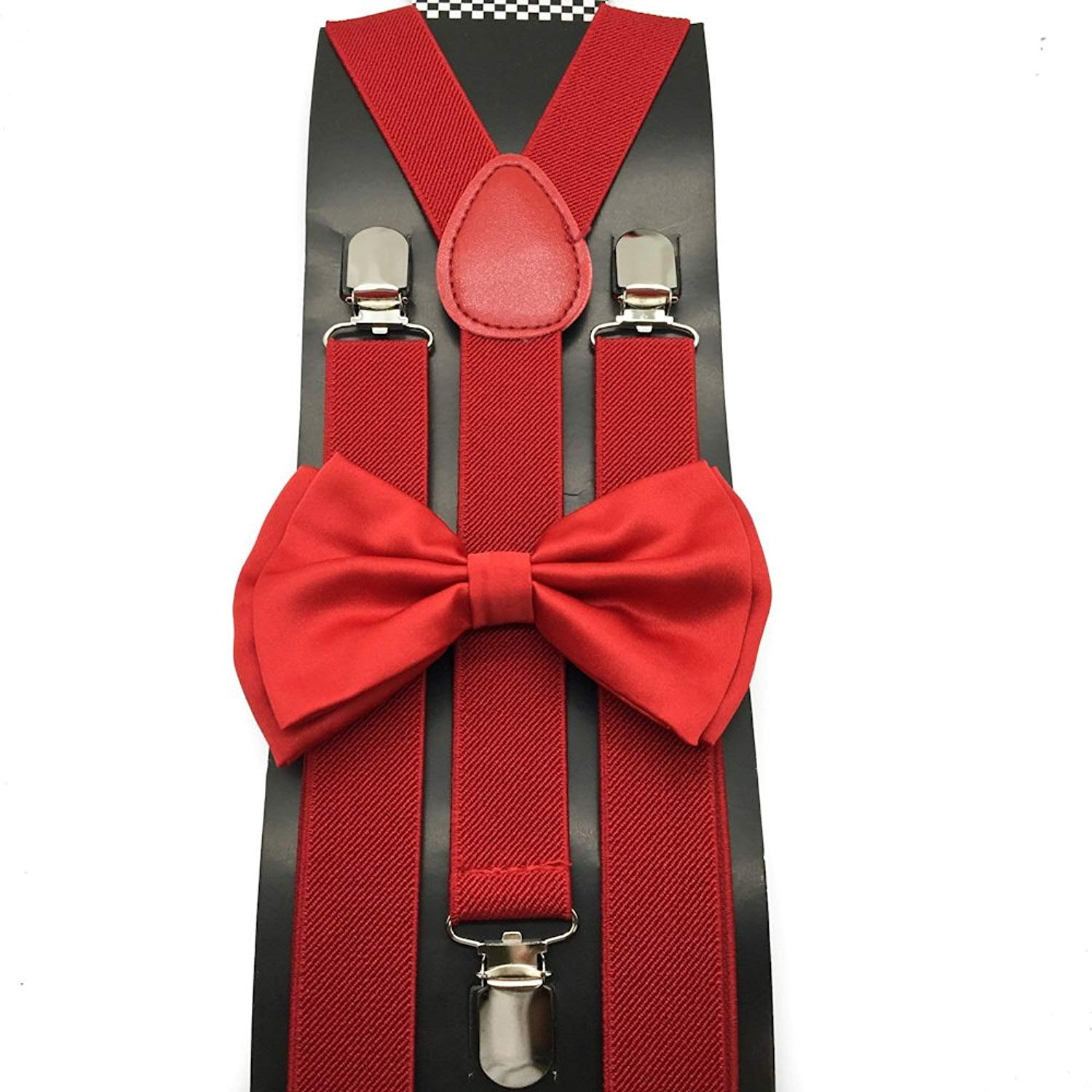 Awesome Dark Red Wedding Accessories Adjustable Bow Tie & Suspenders