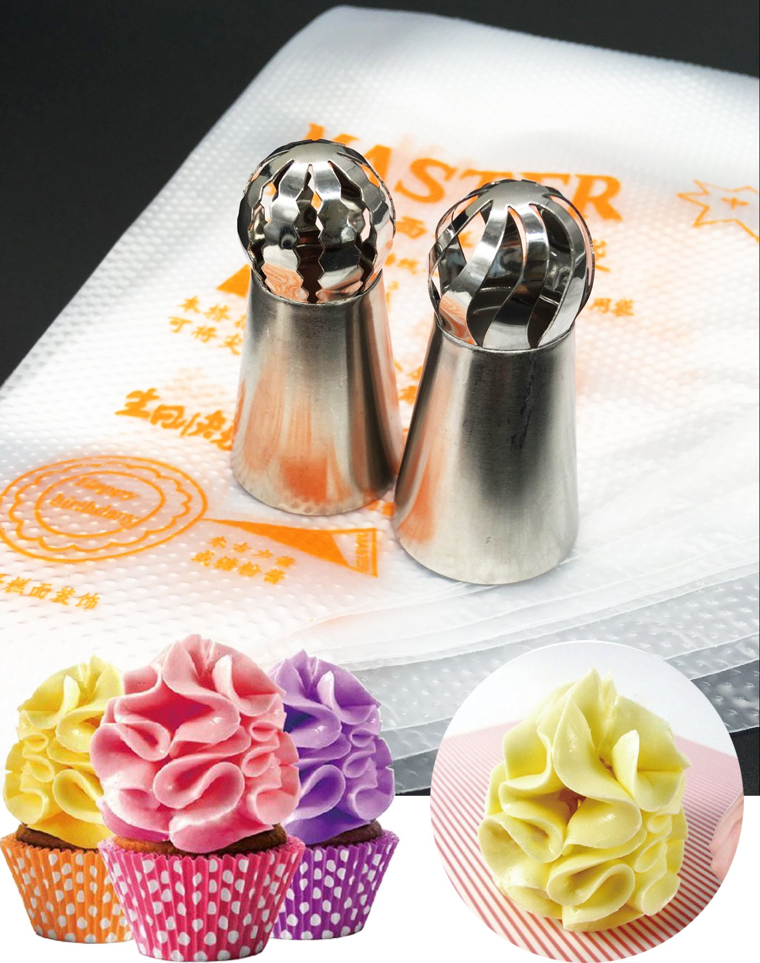 Ball Tips 12Pcs/set, KOOTIPS 2Pcs Sphere Ball Tips+ 10pcs Pastry Bag Russian Icing Piping Nozzles Tips Pastry Cake Fondant Cupcake