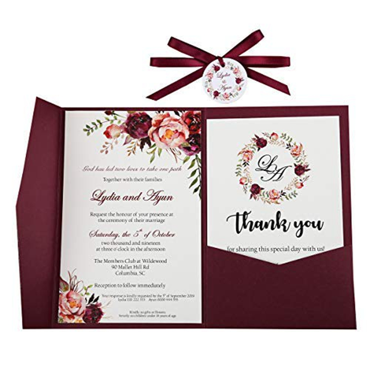 Elegant Luxury flower printed red invitation wedding cards with envelopes