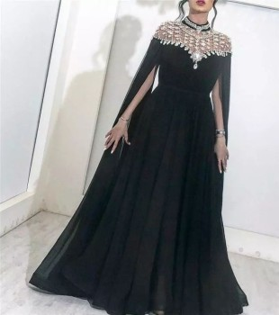 Latest Design Beaded High Neck Long Sleeve Arabic Black Formal Evening Dress Gowns