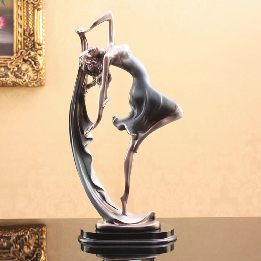 Home Decoration Metal Crafts Europe Character Western Art Bronze Sculpture Figure Dance Banderole Ribbon Statue Gift Decor Hot !