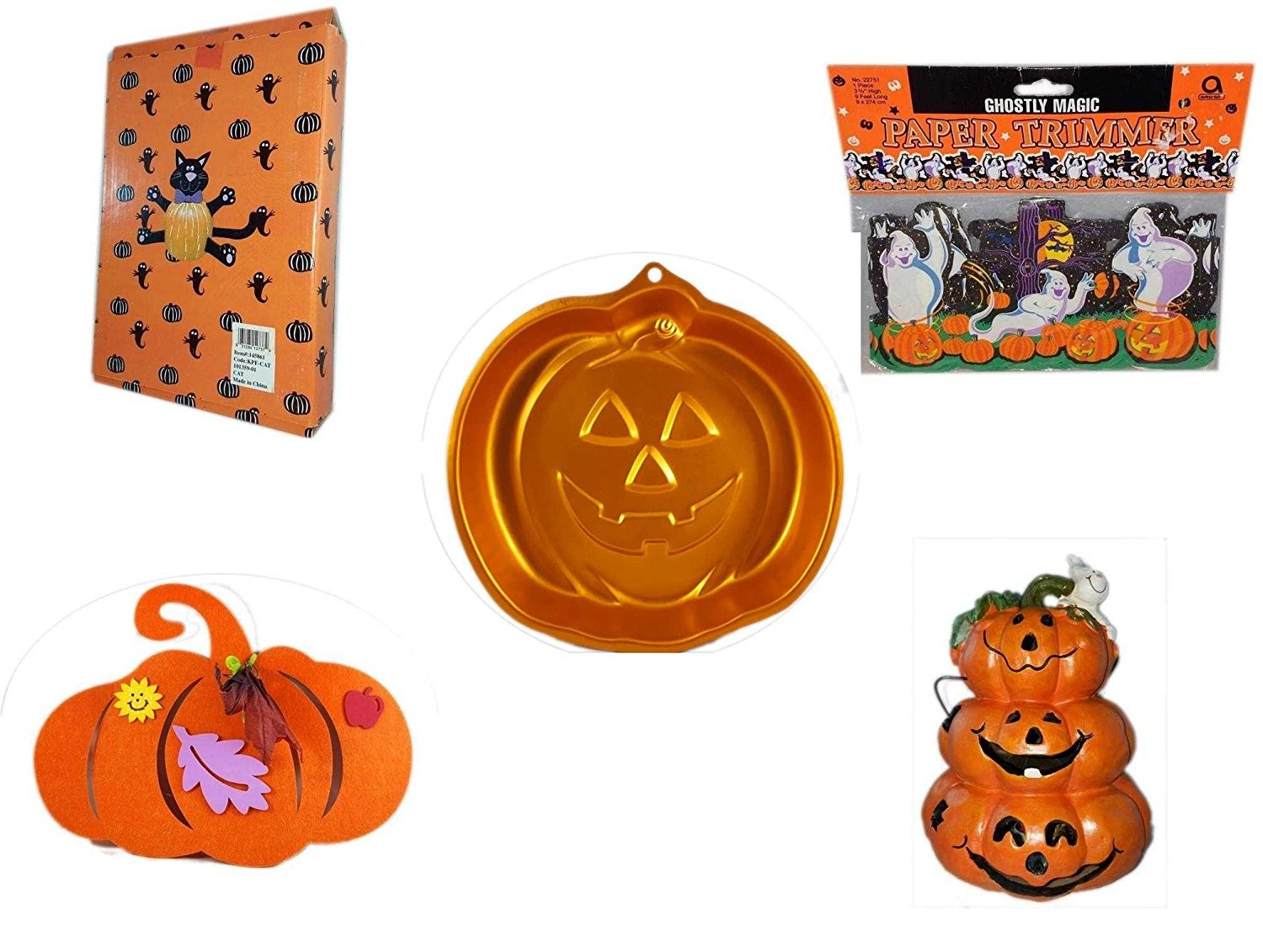 Halloween Fun Gift Bundle [5 piece] - Halloween Cat Pumpkin Push In 5 Piece Head Arms Legs - Ghostly Magic Paper Trimmer 3.75 in x 9 ft. - Wilton Iridescents Jack-O-Lantern Pan - Halloween Felt Pump