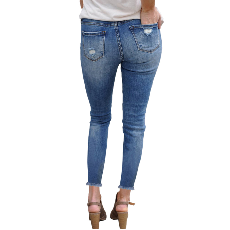 OEM New Fashion Casual Ladies Women's Light Denim Ripped Distressed Skinny Jeans Pants