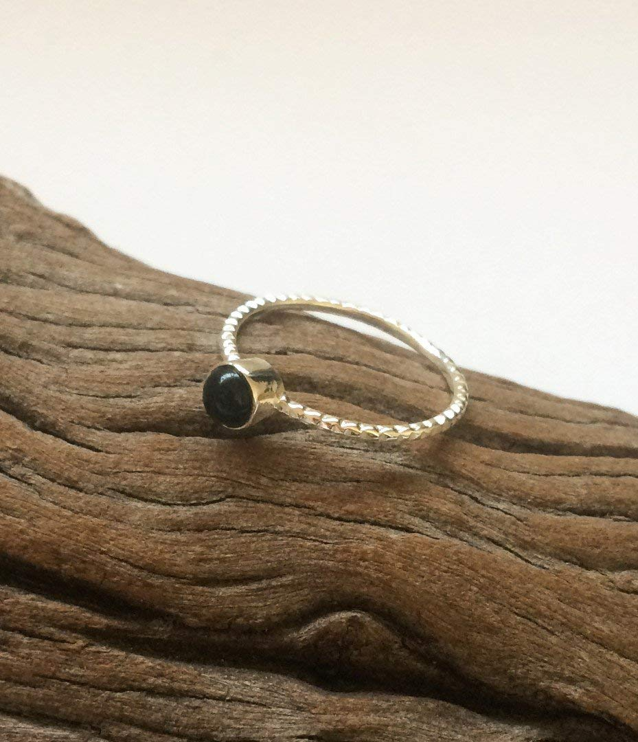 Handmade Black Onyx silver ring, Dainty sterling silver ring, Tiny Black Onyx ring, round black gem ring, Delicate shiny Black Onyx ring, From Israel