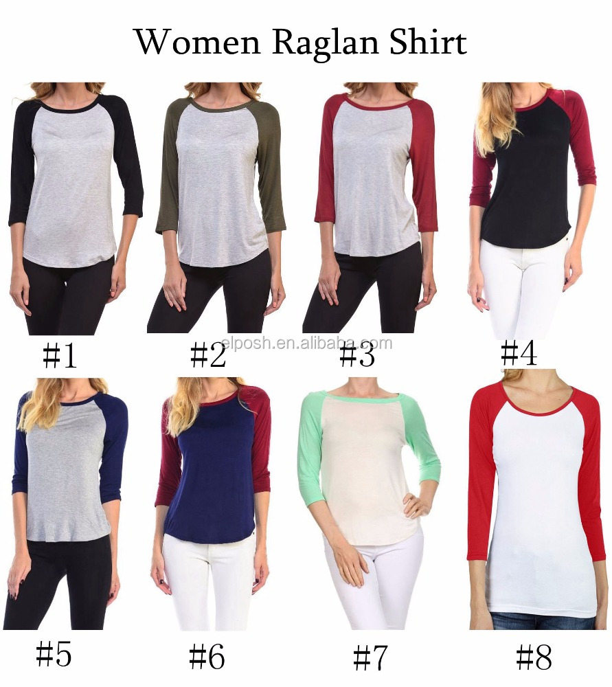 Womens Monogram Baseball Sports Shirts 3/4 Sleeve Raglan Tee